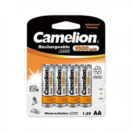 Piles NiMH Accus Rechargeable R06 / AA / 1800mAh / Blister 4 accus CAMELION