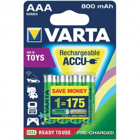 """Piles NiMH Accus """"Rechargeable Toy Accu"""", micro (AAA) 4 pièces VARTA"""
